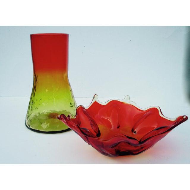 Mid-Century Modern Mid-Century Modern 1960s Orange Blenko Glass Bowl For Sale - Image 3 of 11