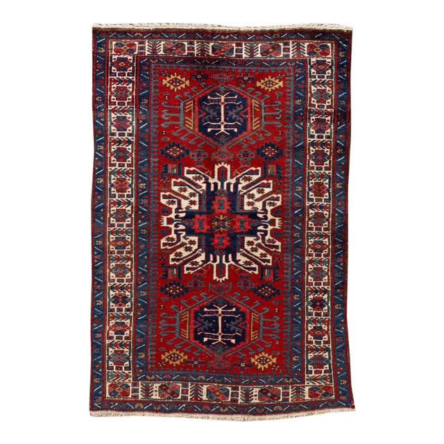 "Vintage Persian Heriz Rug, 4'8"" X 7'0"" For Sale"