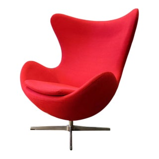 Arne Jacobsen Style Mid Century Modern Red Egg Chair For Sale