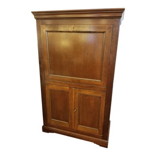 Cherry Drop Front Desk With Maple Interior and Green Leather Inset For Sale
