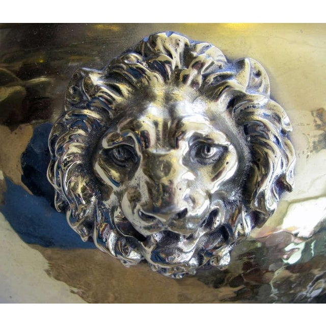 Asian A Rare Imperial Russian Hand-Hammered Brass Jardiniere w/Lion Head Mounts For Sale - Image 3 of 6