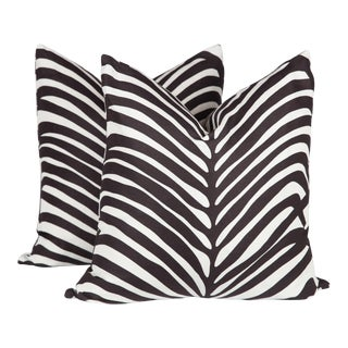 Schumacher Zebra Palm Pillows, a Pair For Sale