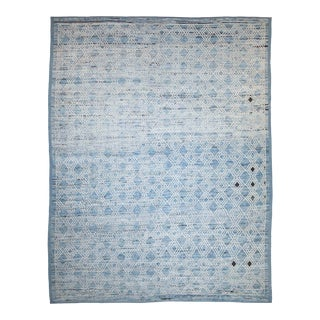 Afghan Moroccan Style Rug With White & Black Diamonds on Blue Field For Sale