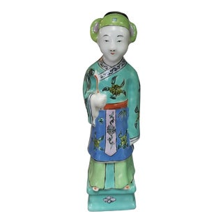 Late 19th Century Chinese Famille Verte Enameled Porcelain Court Official Figurine For Sale
