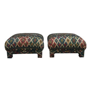Aztec Style Fabric Oversized Poofs - a Pair