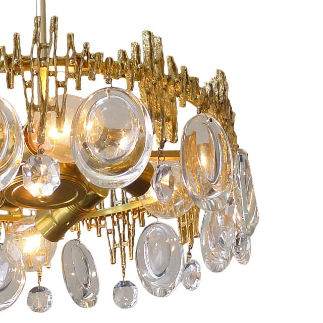 1960s Gilt Brass & Crystal Brutalist Ceiling Fixture by Palwa For Sale - Image 5 of 6