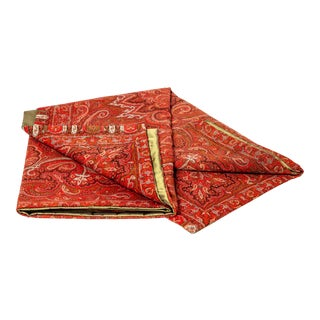 19th Century Antique French Red and Black Cachemere Design Throw For Sale