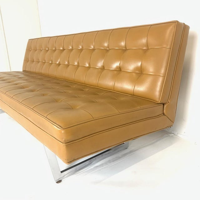 Mid 20th Century Patrician Mid-Century Steel Sled Base Saddle Naugahyde Tufted Gallery Sofa For Sale - Image 5 of 8