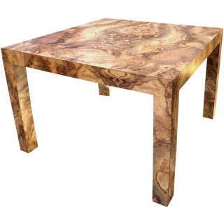1970s Mid-Century Modern Burl Effect Parsons Corner Table For Sale