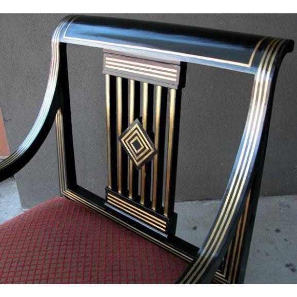 Boldly Scaled Russian Neoclassical Style Black Lacquer Armchair w Brass Inlay For Sale - Image 4 of 6