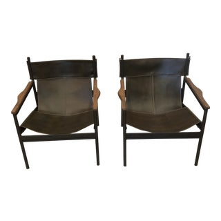Cisco Brothers Leather Barcelona Chairs - a Pair For Sale
