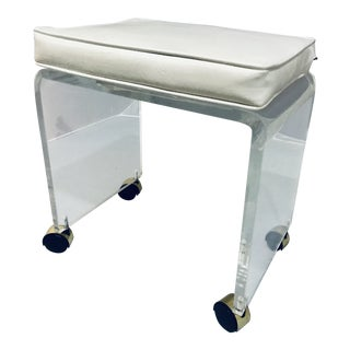 1970s Vintage Lucite Vanity Stool Bench For Sale