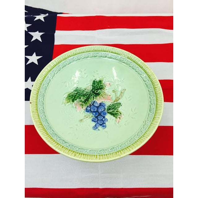 Cottage Antique Majolica Pedestal Dish For Sale - Image 3 of 5