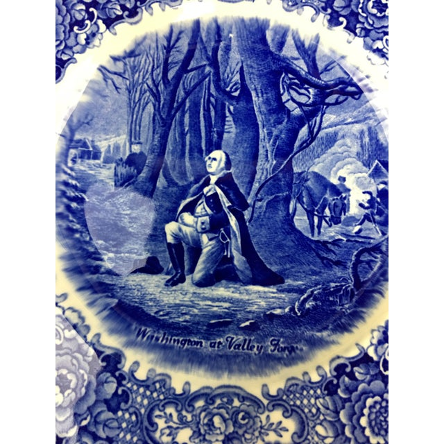"""Traditional Blue and White Transferware Plates """"George Washington Bicentenary Memorial Plates"""" - a Pair For Sale - Image 3 of 6"""