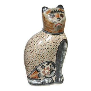 Large Tonala Mexico Pottery Cat With Hand-Painted Folk Art For Sale