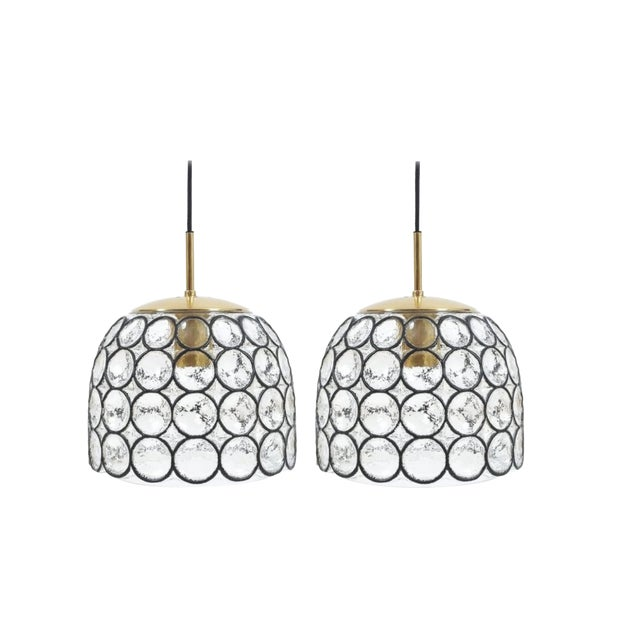 Pair of Large Midcentury Iron and Glass Pendant Lamps by Limburg For Sale