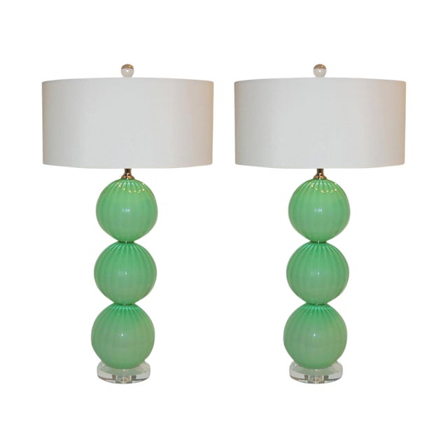 Joe Cariati Hand Blown Glass Ball Table Lamps Green For Sale
