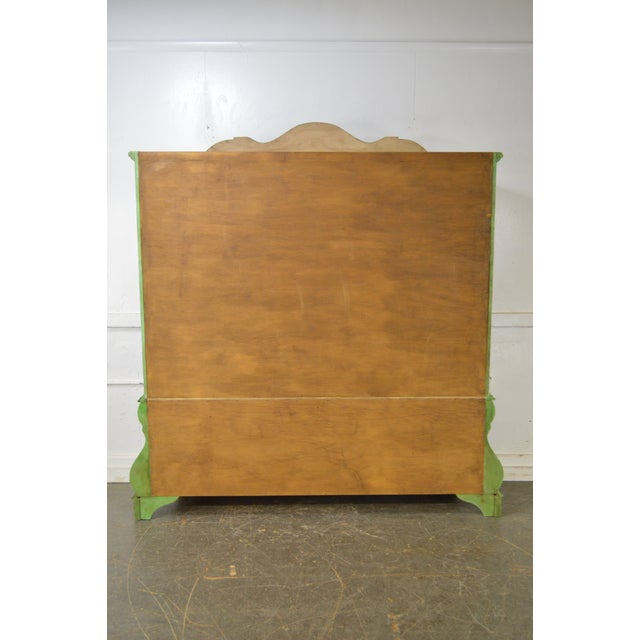 Giltwood Italian Hand Painted Large Bombe Bookcase Breakfront For Sale - Image 7 of 11