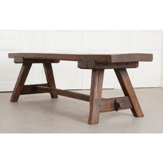 English Early 19th Century Thick Oak Bench For Sale In Baton Rouge - Image 6 of 12