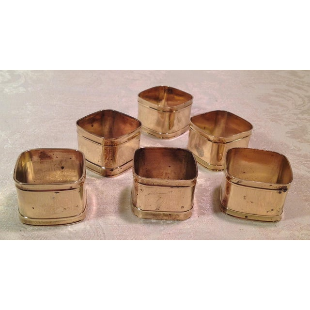 Mid-Century Modern Square Brass Napkin Rings - Set of 6 For Sale - Image 4 of 9