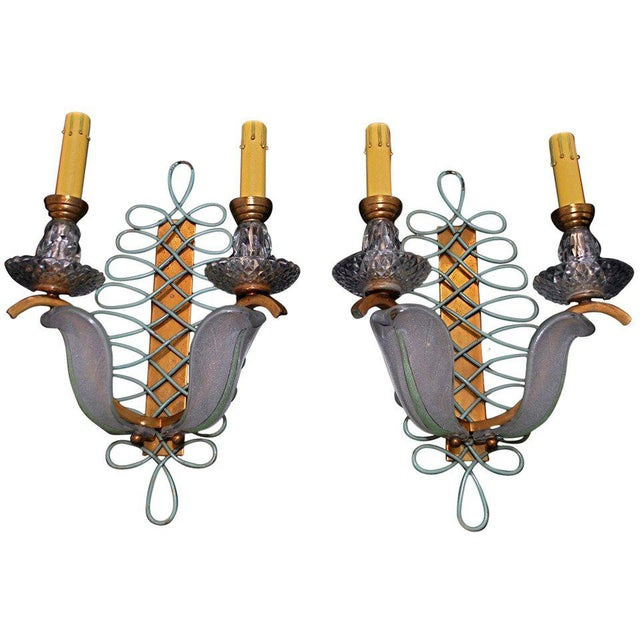 Mid-Century Modern French Sconces by Ezan - a Pair For Sale - Image 3 of 3