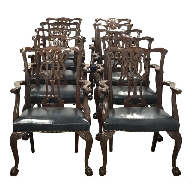 Baker Furniture Chippendale Style Ball & Claw Arm Chairs - Set of 10 For Sale - Image 9 of 10