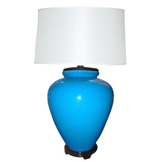 Chinoiserie Oversized Ceramic Turquoise Table Lamp