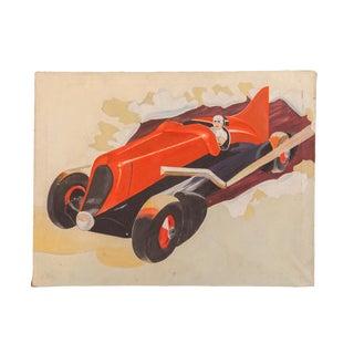 Vintage 1940s Folk Art Race Car Painting For Sale