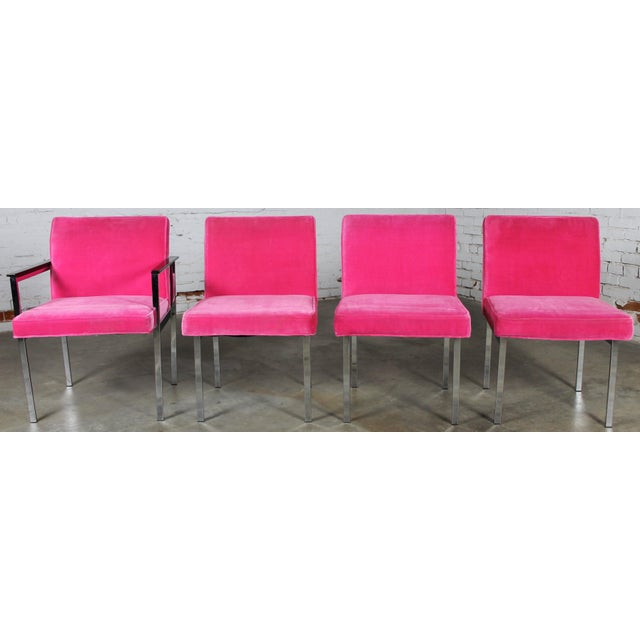 Awesome set of four hot pink and chrome dining chairs, one with arms, by American Furniture Company, Inc. of Martinsville,...