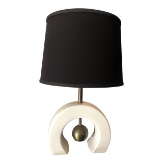 1960s Mid-Century Ceramic & Brass Orb Table Lamp For Sale