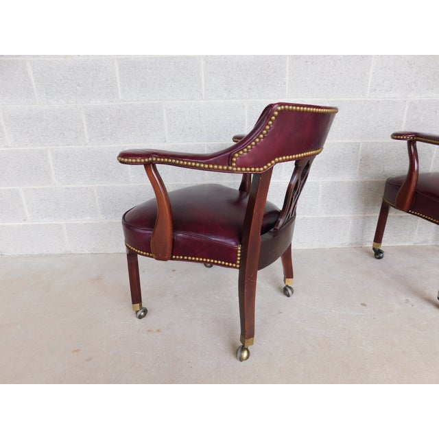 Late 20th Century Hickory Chair Chippendale Style Leather Arm Chairs - a Pair For Sale - Image 5 of 13