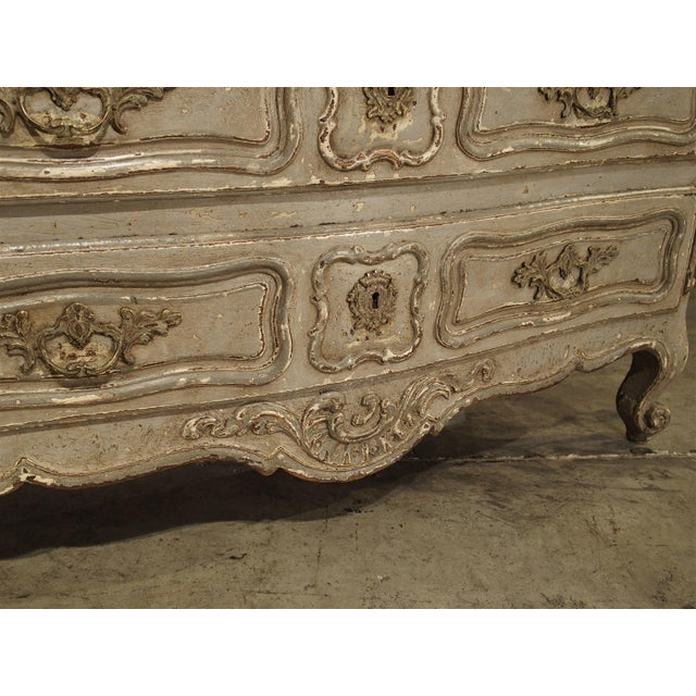 French Antique Louis XV Style Painted French Chest of Drawers with Marble Top For Sale - Image 3 of 10