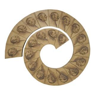 Vintage Mid-Century Modern Ralph Massey Mixed Media Spiral Wall Sculpture For Sale