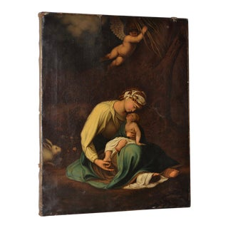 "19th C. ""A Moment of Rest on the Flight to Egypt "" Painting After Correggio For Sale"
