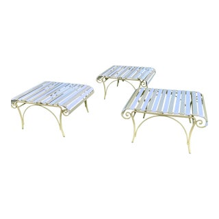Mid-Century Woodard Ionian Outdoor Ottomans - Set of 3 For Sale