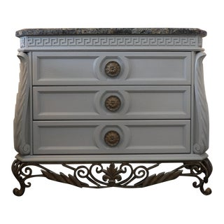 Faux Marble Topped Sideboard With Ornate Iron Base & Greek Key Design For Sale