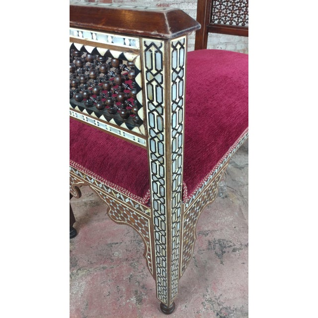 1920s Fabulous Syrian Bench Mother of Pearl Inlaid W/Burgundy Upholstery For Sale - Image 5 of 10