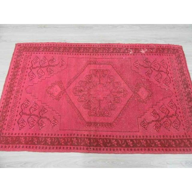 Vintage hand-knotted decorative modern fushia overdyed Turkish area rug For Sale - Image 4 of 6