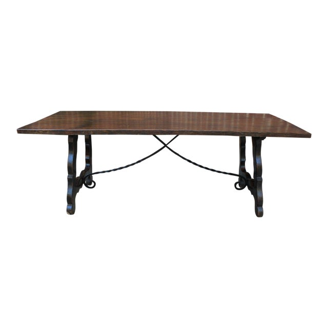 Antique French Spanish Oak 19th Century Mission Catalan Style Farmhouse Dining Table Desk For Sale