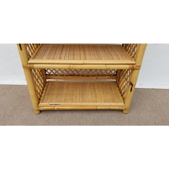 Vintage Boho Chic Bamboo Rattan Etagere Bookshelf For Sale - Image 9 of 10