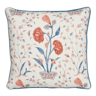 Cottage Schumacher Khilana Floral Delft Rose Linen Two-Sided Pillow For Sale