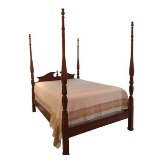 Solid Cherry Rice Carved Queen Sized Bed Frame For Sale
