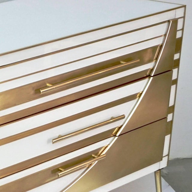 Metal Contemporary Italian Gold Brass and White Cream Glass Chests Side Tables - a Pair For Sale - Image 7 of 9