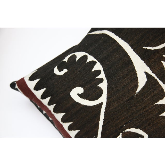 Brown Handwoven Suzani Pillow Cover For Sale - Image 8 of 11