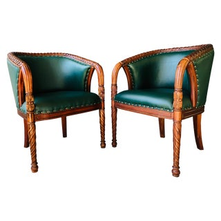 Art Deco Braided Lattice Back Fruitwood Carved Armchairs For Sale