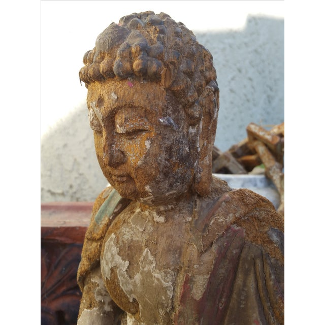 Vintage Distressed Wood Quan Yin Statue - Image 3 of 5