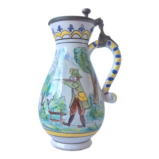 Faience Polychrome Decorated Beer Stein For Sale