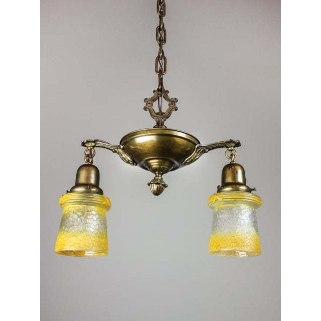 Antique Pan Fixture with Original Shades (2-Light) - Image 2 of 9