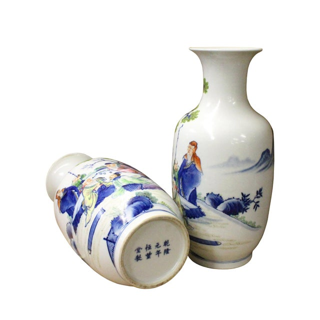 Pair Chinese Oriental Ceramic Porcelain White Color People Graphic Vases For Sale - Image 5 of 8