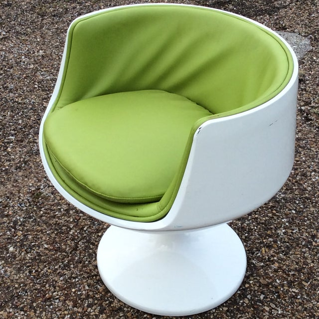 Mid-Century Modern Late 20th Century Vintage Eero Aarnio Finland Green Leather Cognac Chair For Sale - Image 3 of 6